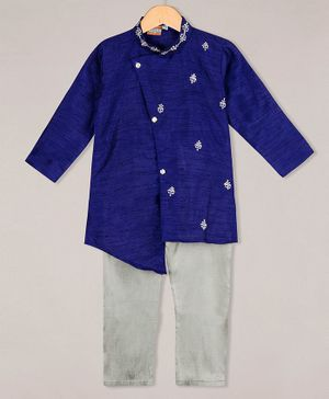 KID1 Embroidered Cross Cut Full Sleeves Kurta With Pyjama - Blue