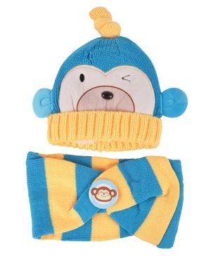 Yellow Bee Cap And Muffler Set - Blue Yellow