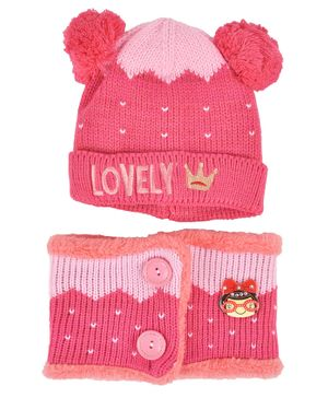 Yellow Bee Embroidered Woollen Cap And Muffler Set - Pink