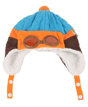 Yellow Bee Pilot Beanie Cap - Blue
