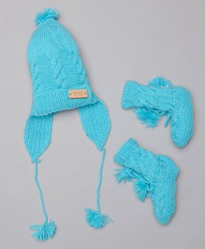 The Original Knit Solid Cap With Booties - Blue