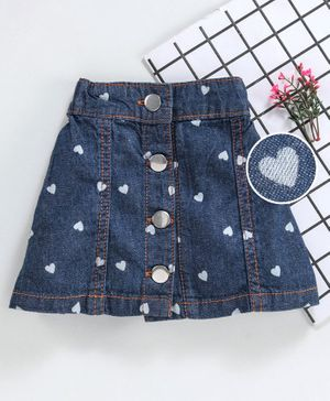 Babyhug Denim Skirt Heart Print - Blue