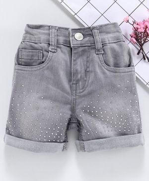 Babyhug Studded Denim Shorts - Light Grey