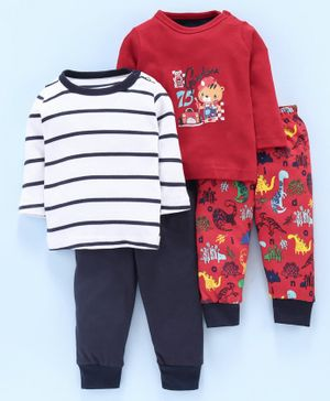 Kidi Wav Full Sleeves Striped & Dinosaur Print Pack Of Two Tees With Two Lounge Pants - Red Blue