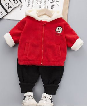 Pre Order - Awabox Full Sleeves Smiley Patch Hooded Jacket With Bottom - Red