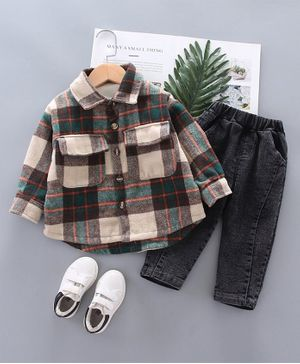 Pre Order - Awabox Full Sleeves Checked Shirt With Jeans - Brown