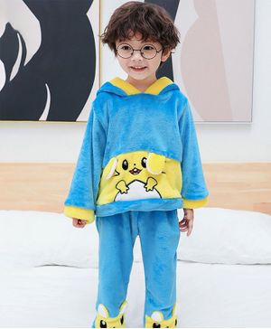 Pre Order - Awabox Full Sleeves Animal Patch Night Suit - Blue