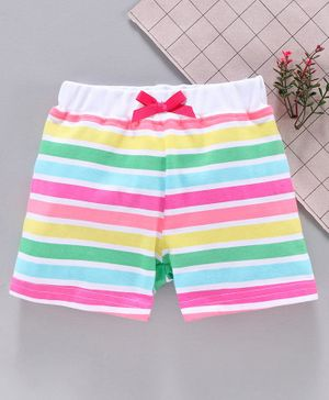 Babyhug Striped Shorts - White