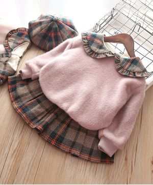 Pre Order - Awabox Checked Full Sleeves Sweatshirt With Cap & Skirt - Pink