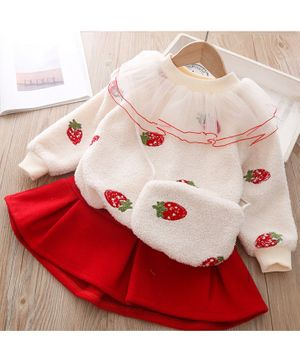Pre Order - Awabox Strawberry Patch Full Sleeves Sweatshirt With Bag & Skirt - Red & Beige