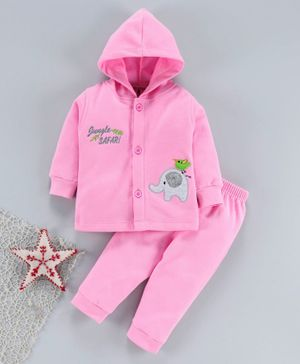 Child World Winter Wear Full Sleeves Hooded Night Suit - Pink