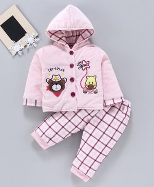 U R Cute Bear Patch Full Sleeves Jacket With Elasticated Bottom - Pink