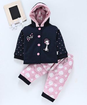 U R Cute Full Sleeves Doll Patch Hooded Jacket With Printed Bottom - Blue & Pink