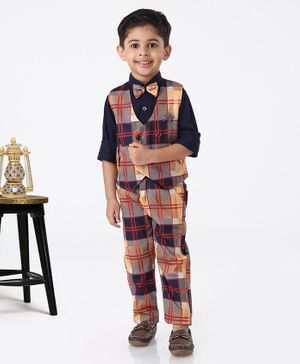 Dapper Dudes Checkered Full Sleeves 3 Piece Party Suit With Bow & Broach - Navy Blue