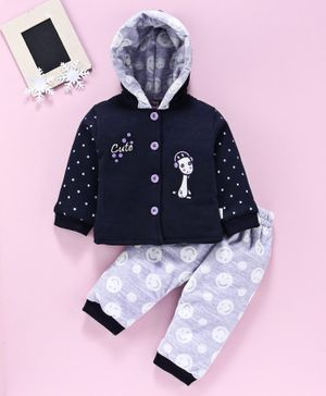 U R Cute Full Sleeves Alien Patch Hooded Jacket With Bottom - Blue