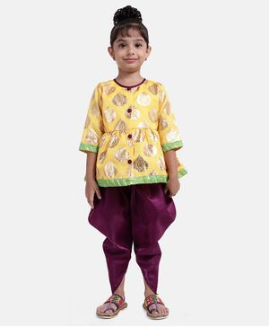 Bownbee Three Fourth Sleeves Motif Print Kurti With Contrast Dhoti - Yellow & Purple