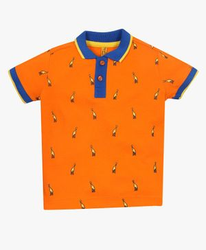 ParrotCrow Half Sleeves Giraffe Print Tee - Orange