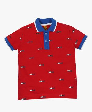 ParrotCrow Half Sleeves Shark Print Tee - Red