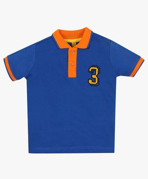 ParrotCrow Half Sleeves Number Pattern Contrast Collared Tee - Blue