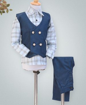 Knotty Kids Checkered Full Sleeves Shirt With Waistcoat & Pants - Blue