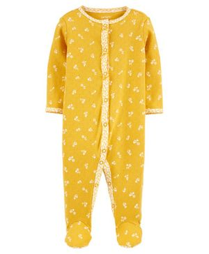 Carter's Floral Snap-Up Cotton Sleepsuit - Yellow