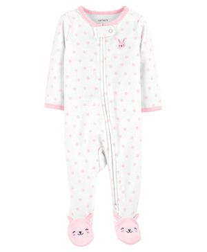 Carter's Bunny 2-Way Zip Terry Sleepsuit - White Pink