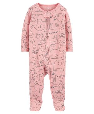 Carter's Animal 2-Way Zip Sleep & Play Suit - Pink