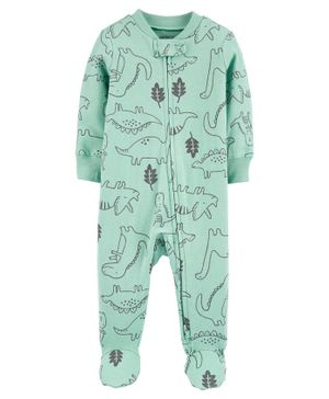 Carter's Dinosaur 2-Way Zip Stretch Sleep & Play - Sea Green
