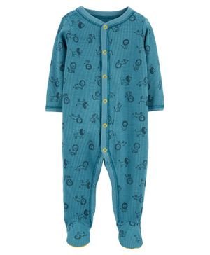 Carter's Lion Snap-Up Thermal Sleepsuit - Blue