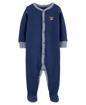 Carter's Bear Snap-Up Thermal Sleepsuit - Navy Blue