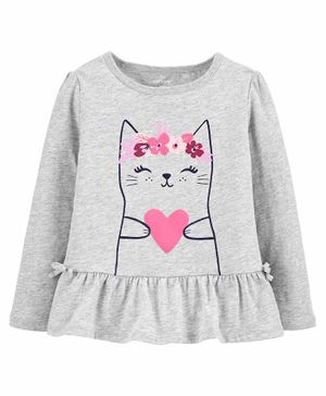 Carter's Heart Cat Peplum Jersey Top - Grey