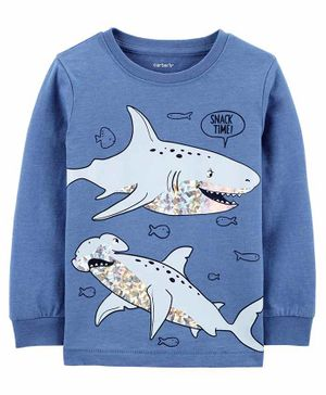 Carter's  Shark Snow Yarn Tee - Blue