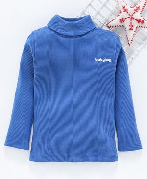 Babyhug Full Sleeves Solid Skivi Tee - Blue