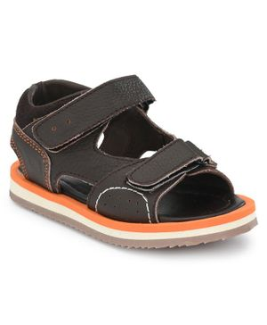 Tuskey Solid Double Velcro Sandals - Brown