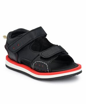 Tuskey Solid Double Velcro Sandals - Black