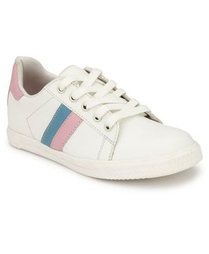 Tuskey Lace Up Striped Panel Shoes - White