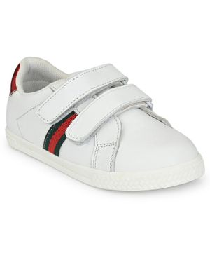 Tuskey Double Velcro Striped Panel Shoes - White