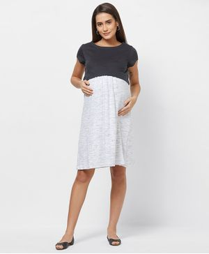 Mystere Paris Short Sleeves Colour Blocked Maternity Dress - White