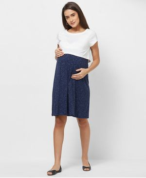 Mystere Paris Short Sleeves Colour Blocked Maternity Dress - Blue