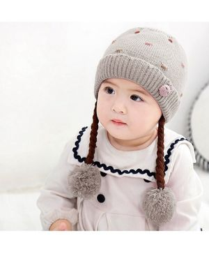 Ziory Knitted Beanie Cap With Hair Braids - Grey