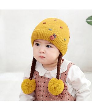 Ziory Knitted Beanie Cap With Hair Braids - Yellow