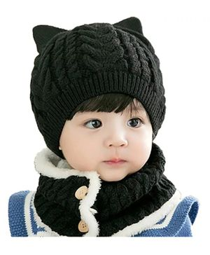 Ziory Fleece Knitted Beanie Cap & Scarf Set- Black