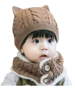 Ziory Fleece Knitted Beanie Cap & Scarf Set- Brown