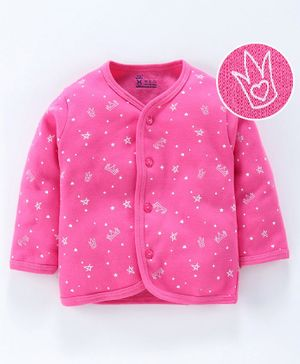 Pink Rabbit Winter Wear Full Sleeves Vest Crown Print - Pink