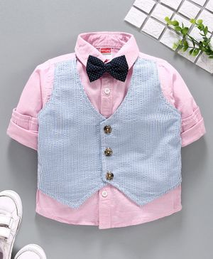 Babyhug Full Sleeves Solid and Striped Shirt with Bow - Pink Blue