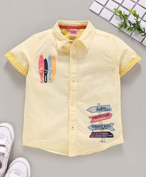 Babyhug Half Sleeves Shirt Text Print - Yellow
