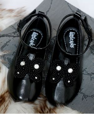 Little Soles Pearl Embellished Butterfly Decor Bellies - Black
