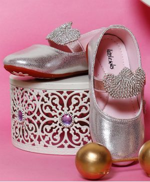Little Soles Studded Crown Decor Bellies - Pink
