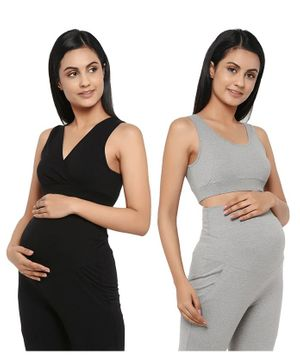 Wobbly Walk Solid Pack of 2 Maternity & Nursing Bra - Black