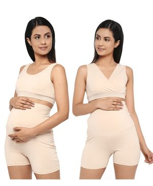 Wobbly Walk Solid Pack of 2 Maternity & Nursing Bra - Cream